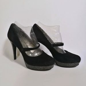 Audrey Brooke Shoes - Audrey Brooke Black Suede Platform Heels ✨ EUC